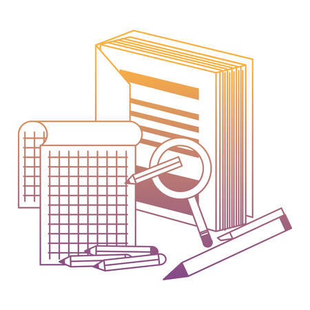 book with notepad and magnifying glass over white background, vector illustration