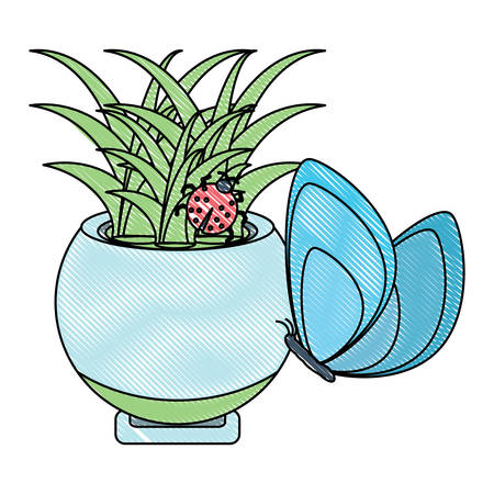 plant in a pot icon over white background, vector illustration
