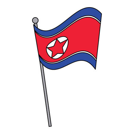 north korea flag icon over white background, vector illustration