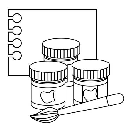 notebook sheet and paint bottles and brush over white background, vector illustration