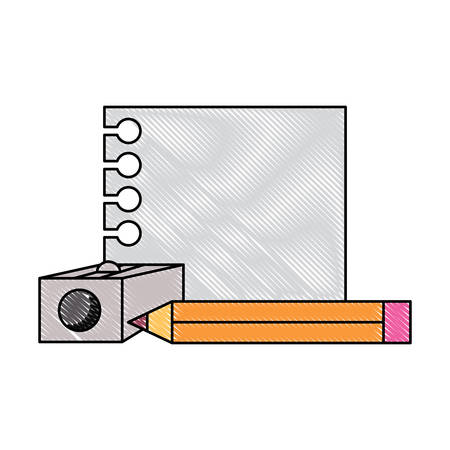 notebook sheet with pencil and sharpener over white background, vector illustration 写真素材 - 114879223