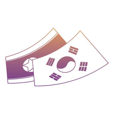 South Korea flag and North Korea flag over white background, vector illustration