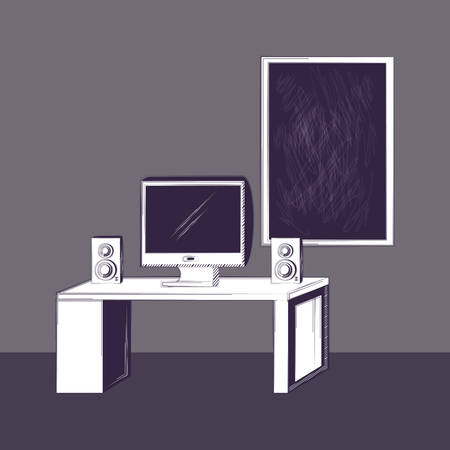 Büro mit Schreibtisch und Tafel über grauem Hintergrund, buntes Skizzendesign. Vektor-Illustration
