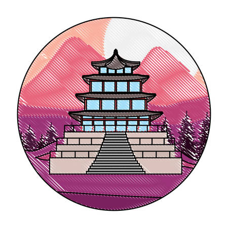 iconic asian landmark over landscape in circle shape and white background, vector illustration