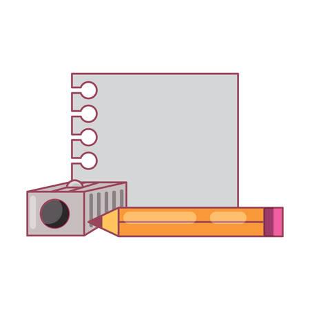 Hoja de cuaderno con lápiz y sacapuntas sobre fondo blanco, ilustración vectorial