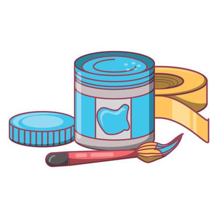 paint bottle and brush over white background, vector illustration