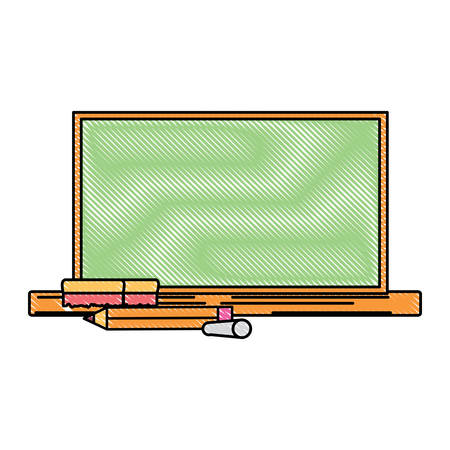 school chalkboard and pencils over white background, vector illustration