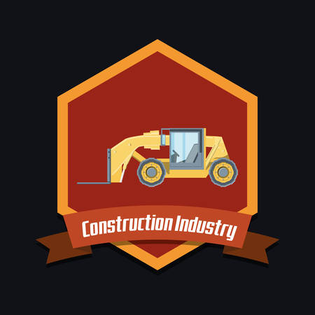 emblem of Construction industry design with forklift truck icon over black background, colorful design. vector illustration