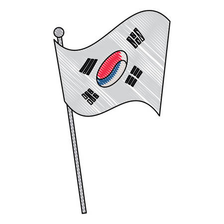 south korea flag icon over white background, vector illustration Illustration