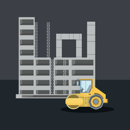 construction design with construction structure and  road roller truck icon over gray  background, colorful design. vector illustration