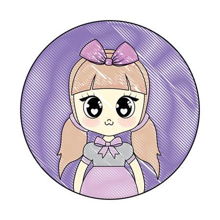 Anime girl character over white background, vector illustration