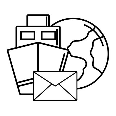 earth planet with ship and envelope icon over white background, vector illustration