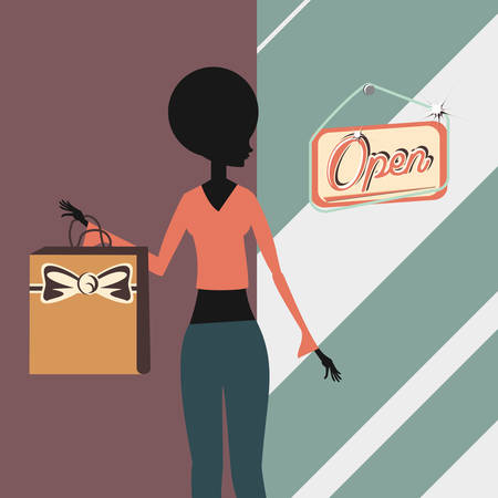 retro shopping woman with bag and open store sign vector illustration Illustration