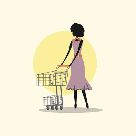 woman fashionable shopping cart retro style vector illustration