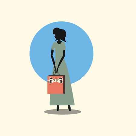woman shopping handbag retro style vector illustration Vektorgrafik