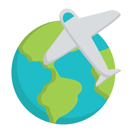 earth planet and airplane icon over white background, vector illustration