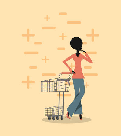 woman silhouette shopping cart retro grunge style vector illustration 일러스트