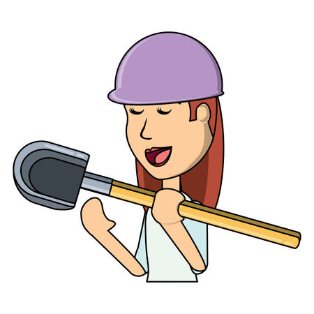 cartoon woman holding a shovel icon over white background, vector illustration