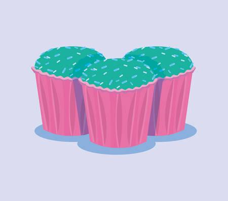 sweet birthday cupcakes dessert pastry vector illustration Ilustração