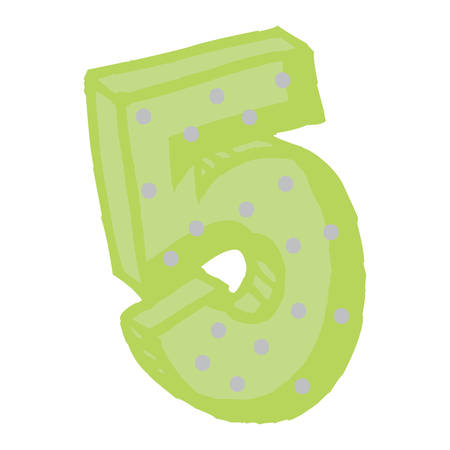 cute number five over white background, vector illustration
