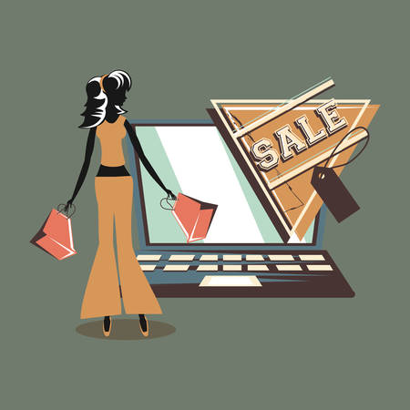 woman carrying handbags laptop online sale price tag retro style vector illustration
