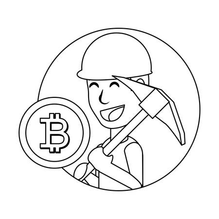 cryptocurrency mining design with cartoon man holding a pickaxe and bitcoin coin icon over white background, vector illustration
