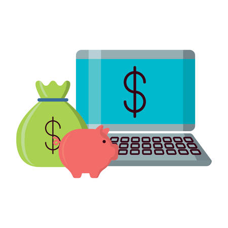 laptop computer with piggy bank and money sack over white background, vector illustration