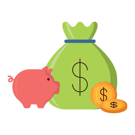 Sac d'argent avec tirelire et pièces de monnaie sur fond blanc, vector illustration