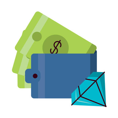 wallet with money and diamond icon over white background, vector illustration