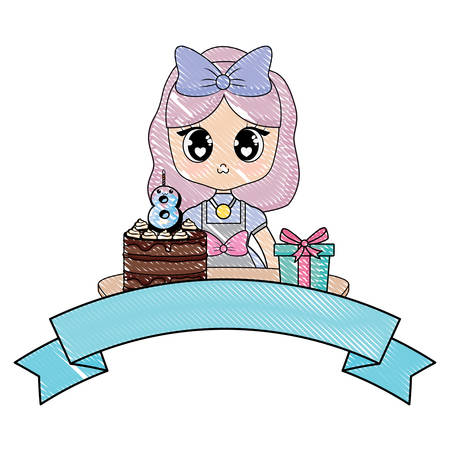 Anime girl with birthday cake and decorative ribbon over white background, vector illustration Illustration