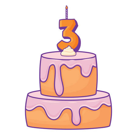 Birthday cake with number three candle icon over white background, vector illustration