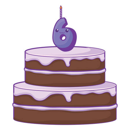 Birthday cake with number six candle over white background, vector illustration