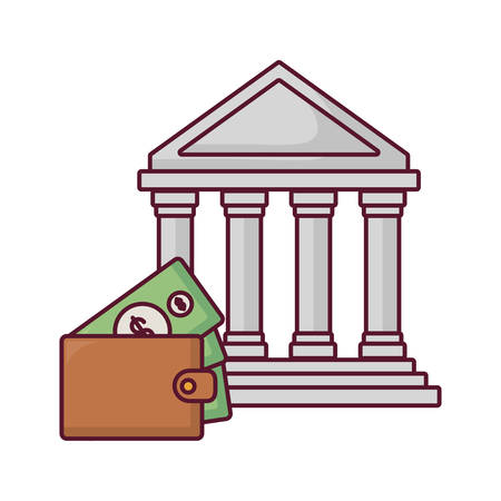 bank building and wallet with money icon over white background, vector illustration