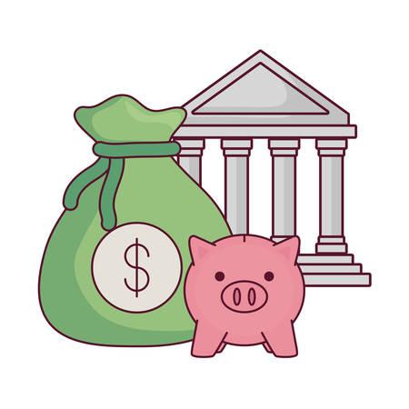 bâtiment de banque avec sac d'argent et icône de tirelire sur fond blanc, illustration vectorielle