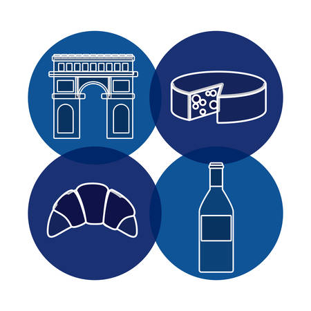 icon set of france over blue circles and white background, vector illustration