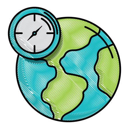 earth planet and clock icon over white background, vector illustration