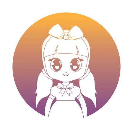 anime girl wearing a costume over white background, vector illustration