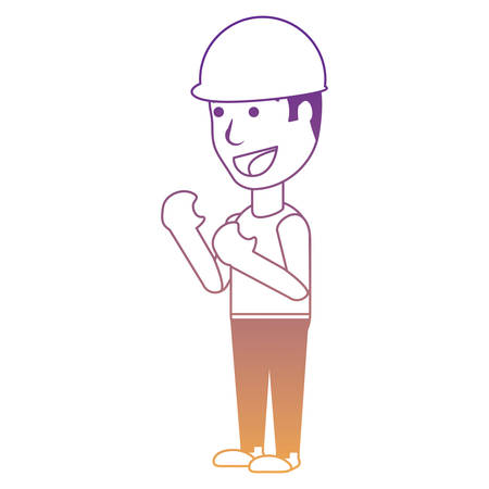 woman with safety helmet icon over white background, vector illustration Иллюстрация