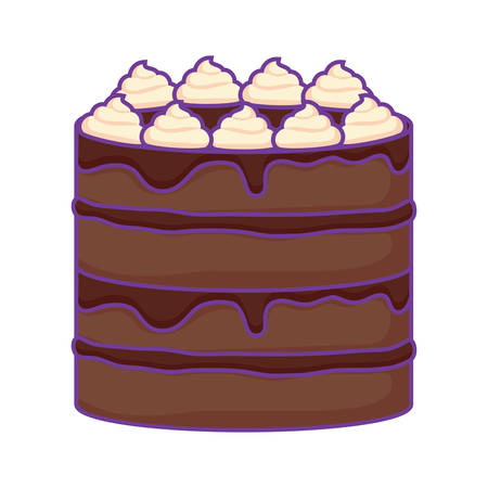 Sweet cake icon over white background, vector illustration