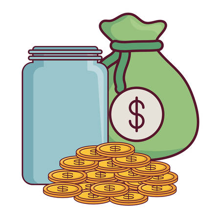 money sack with moneybox and coins  icon over white background, vector illustration Illustration