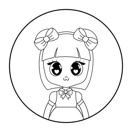 decorative circular frame with cute asian girl icon over white background, vector illustration