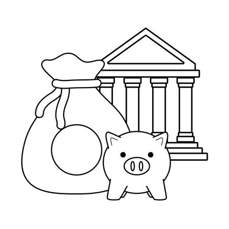 bank building with sack of money and piggy bank icon over white background, vector illustration Illustration