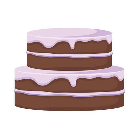 Birthday cake icon over white background, vector illustration Ilustração