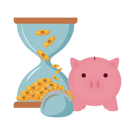 piggy bank and hourglass icon over white background, vector illustration