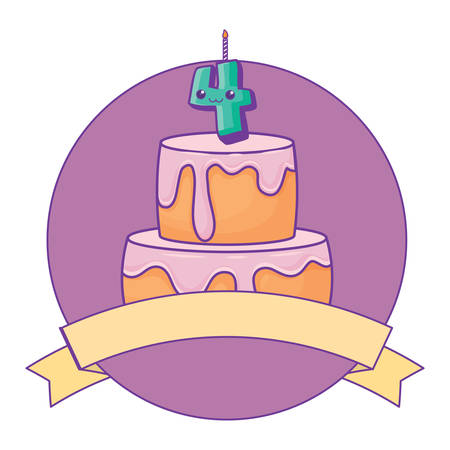 emblem with birthday cake and decorative ribbon icon over white background, vector illustration