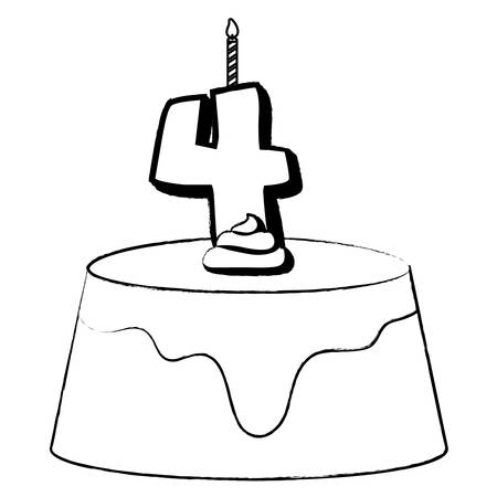Birthday cake with number four candle over white background, vector illustration