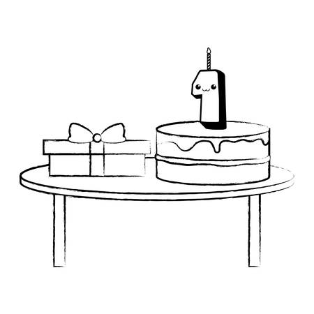 table with cake and gift box over white background, vector illustration