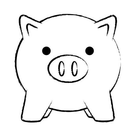 piggy bank icon over white background, vector illustration Vetores