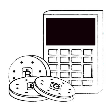 calculator and cryptocoins icon over white background, vector illustration