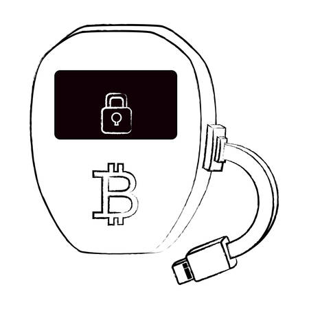Bitcoin Hardware Wallet icon over white background, vector illustration